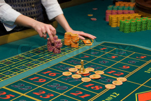 Roulette gambling chips on the table